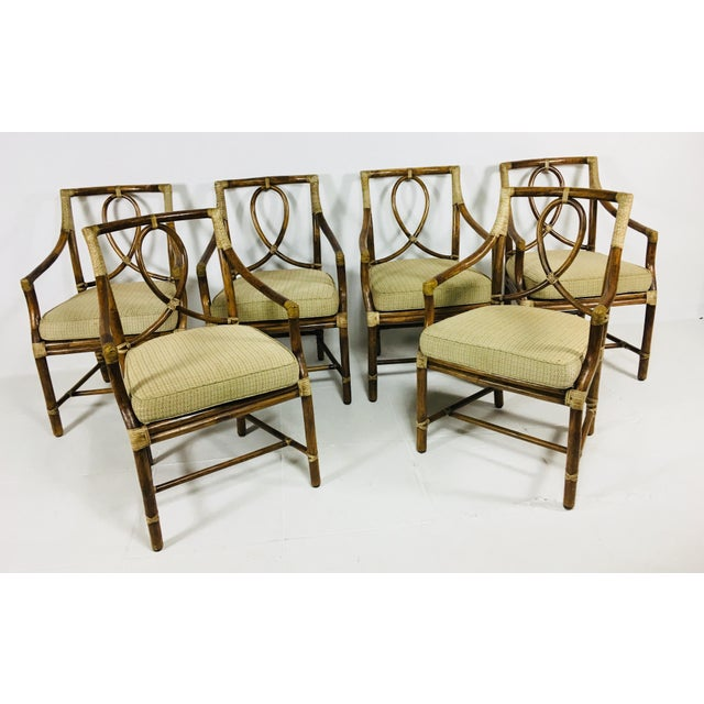 1980s Mid-Century Modern McGuire Rattan Dining Arm Chairs - Set of 6 For Sale - Image 13 of 13
