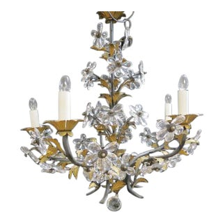 1960s Antique Italian Style 5 Arm Crystal Flower Chandelier For Sale