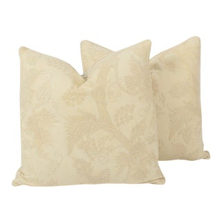 Cream Linen Crewel Pillows, a Pair For Sale