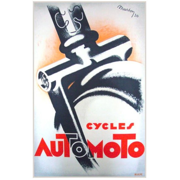 1930 French Art Deco Poster - Cycles Automoto For Sale