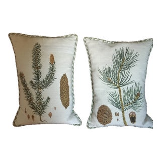 1990s Vintage Chelsea House Needlepoint Pine Cones Pillows - A Pair For Sale