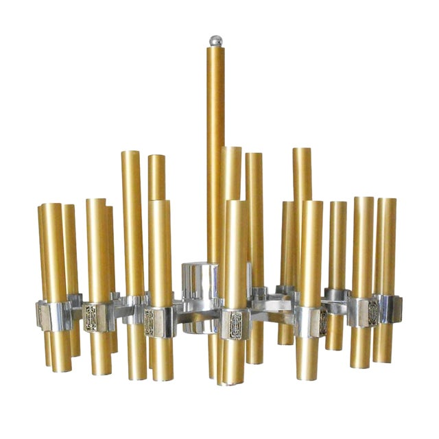 Brass and Chrome Tubes Chandelier by Sciolari For Sale