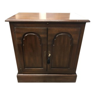 Traditional Style Wood Two Door Side Table For Sale