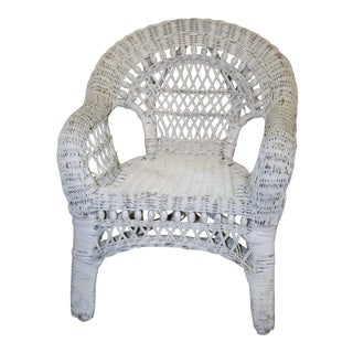 1980s Vintage Child's White Wicker Chair For Sale