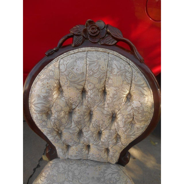 French Louis XV Style Hand Carved Dining / Fireside Chairs - Pair - Image 5 of 6