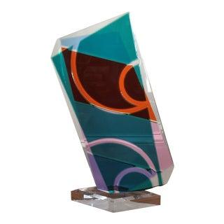 1980s Geometric Orange, Purple and Blue Lucite Table Sculptre For Sale
