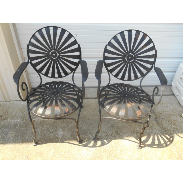1940s Francois Carre French Art Deco Iron Sunburst Garden Side Chairs- a Pair For Sale - Image 6 of 6