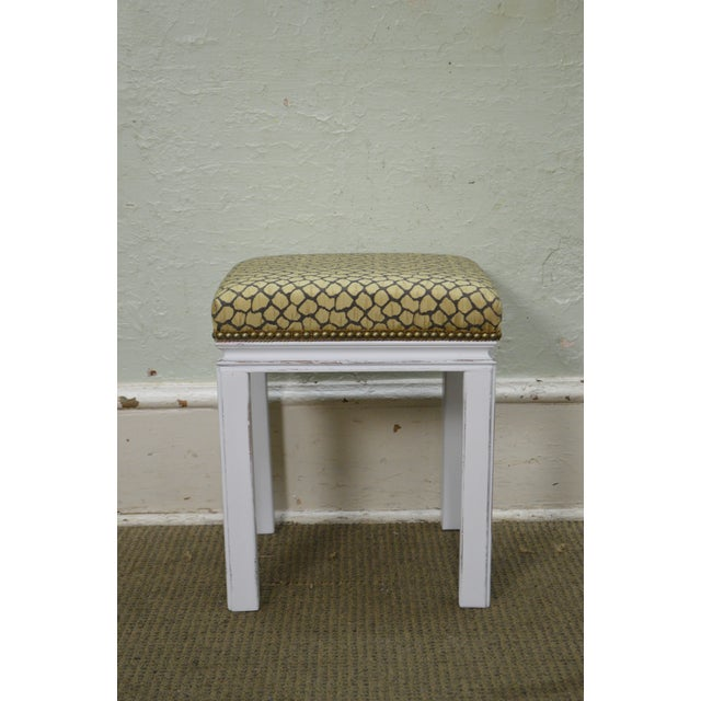 Mid Century Pair of Custom Painted Square Stools Benches - Image 5 of 11