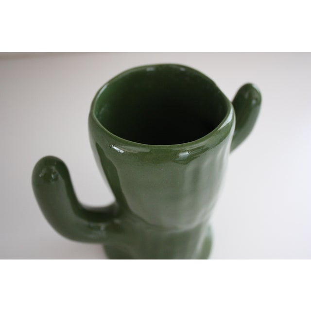 Green Ceramic Saguaro Planter - Image 4 of 6