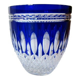 Vintage Waterford Clarendon Cobalt Blue Cut to Clear Cased Crystal Ice Bucket For Sale