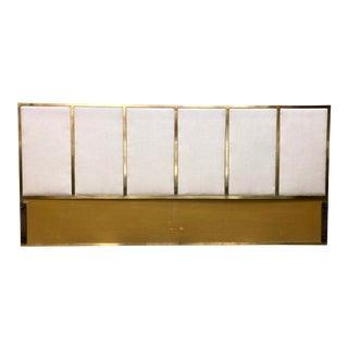 Paul McCobb Brass Frame Upholstered King Headboard by Calvin Circa 1950s For Sale