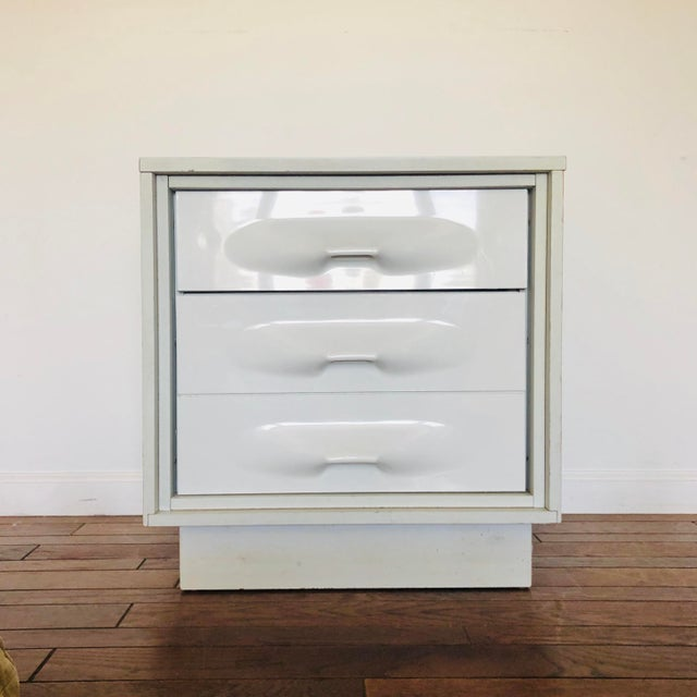 Space Age Pop Modern two drawer Night Stand by Giovanni Maur for Treco, Quebec Canada circa 1973. Driven Snow Lustran ABS...