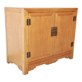 Baker Furniture Elm Wood Chinoiserie Server For Sale