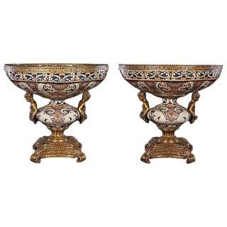 Bronze Mounted Porcelain Bowls - A Pair For Sale