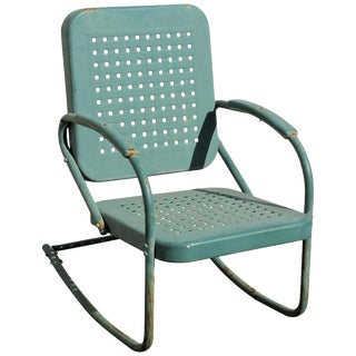 Beach or Lawn Rocking Chair in Original Painted Surface For Sale