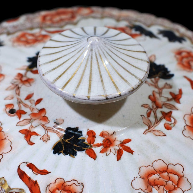Late 19th Century Victorian English Ceramic Cheese Dome With Printed and Hand Painted Decoration For Sale - Image 5 of 13