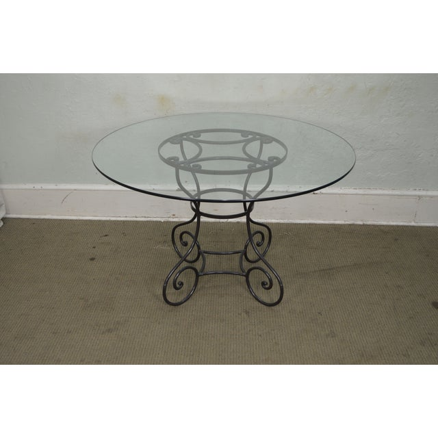 "Custom Wrought Iron Base 48"" Round Glass Top Dining Table For Sale In Philadelphia - Image 6 of 11"
