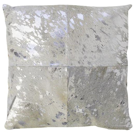 Silver Cowhide Pillow - Image 1 of 3