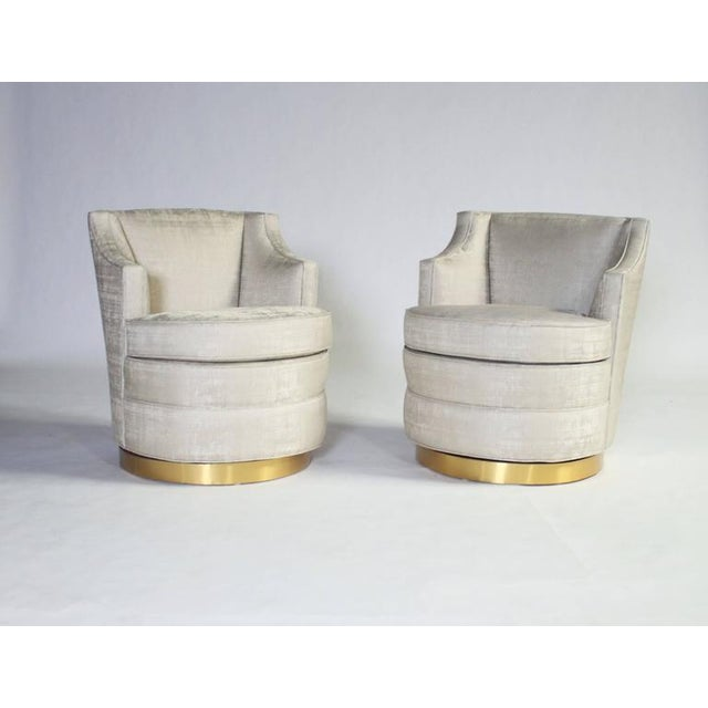 Hollywood Regency Edward Wormley for Dunbar Swivel Chairs For Sale - Image 3 of 7