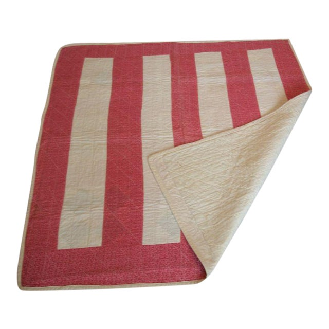 19th Century Machine Stitched Pink and Cream Calico Bar Crib Quilt - Image 1 of 3