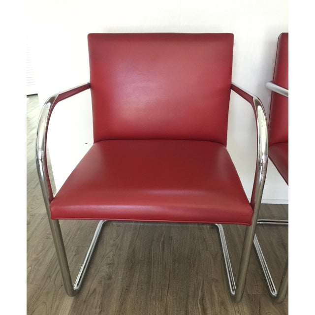 Bauhaus Knoll Brno Red Spinneybeck Leather Mid-Century Modern Chairs - a Pair For Sale - Image 3 of 8