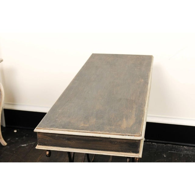 Vintage French Baker's Table With Painted Wood Top and Scrolled Iron Base For Sale - Image 10 of 11