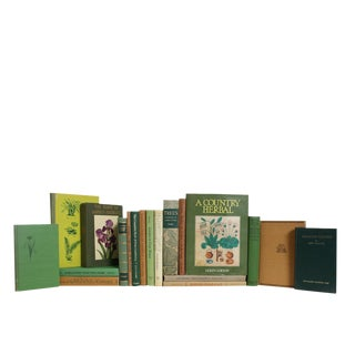 Green and Tan Gardening Book Set, S/20 For Sale