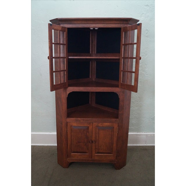 Custom Quality Solid Maple Country Corner Cabinet - Image 5 of 9