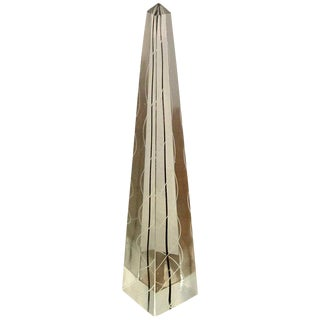 Black and White Murano Glass Obelisk For Sale