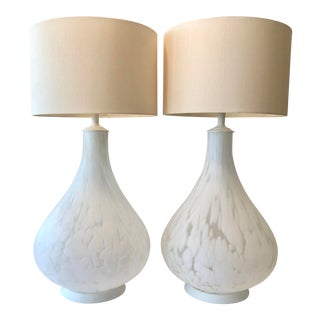 1960's Oversized Pair Murano Table Lamps For Sale