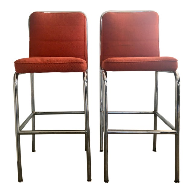 Mid-Century Orange Upholstered Chrome Tube Bar Stools - A Pair For Sale
