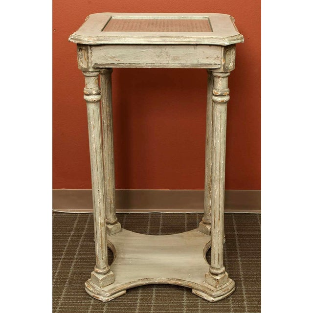 French French 2-Tier Painted Wood & Caned Side Table For Sale - Image 3 of 6