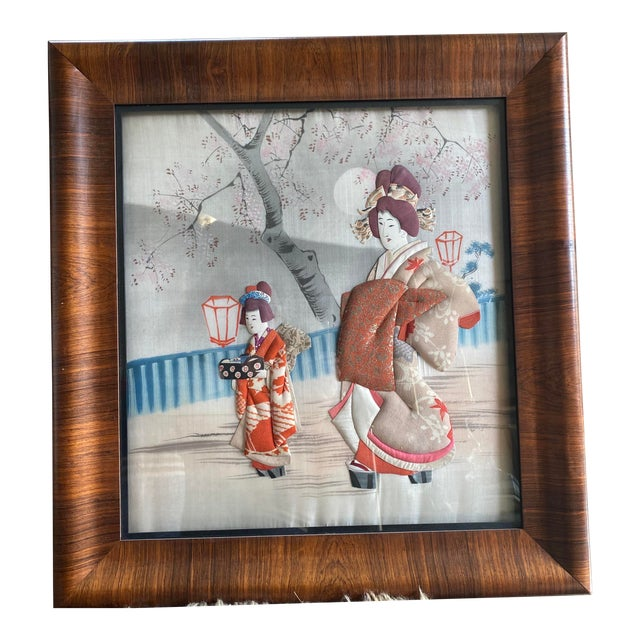 Traditional Japanese Silk & Brocade Art, Framed For Sale