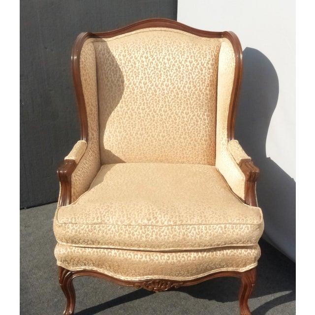 French Leopard Cheetah Print Designer Tan Wingback Chair