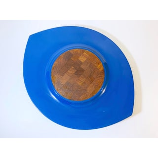 "Jens Quistgaard Dansk Danish Mid-Century Modern ""Festivaal"" Oval Blue Lacquer Cheese Board /Serving Platter Preview"