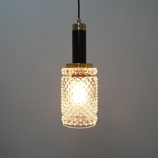 Metal One of Four Stilnovo Pendant Lamps Crystal Glass, Circa 1950 For Sale - Image 7 of 9