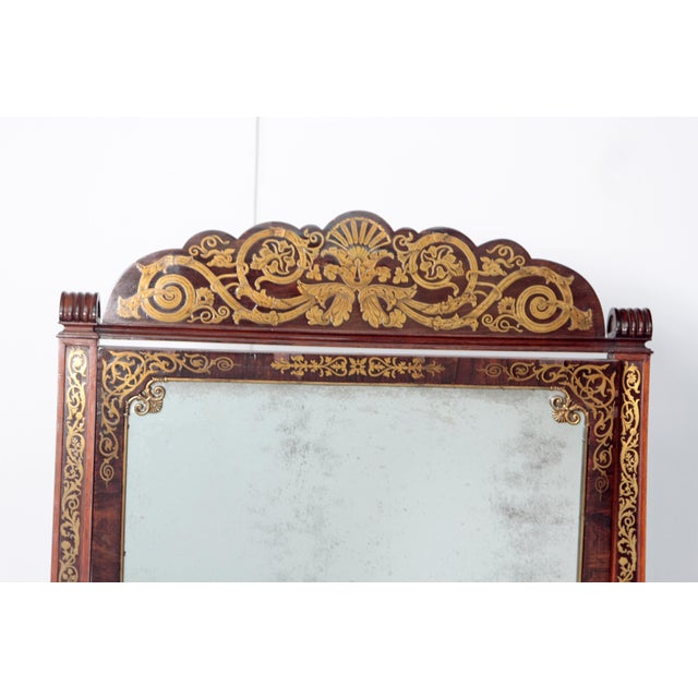 Brass English Regency Rosewood Brass Inlay Boulle Work Cheval Mirror For Sale - Image 7 of 11