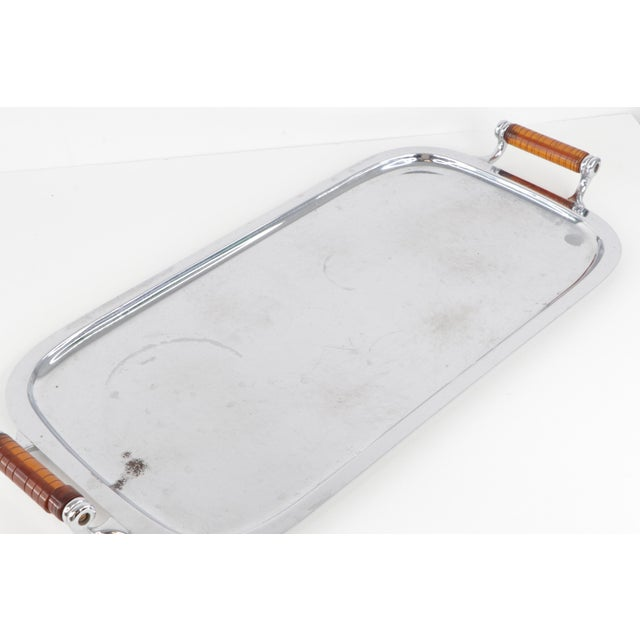 Vintage 1960s Mid-Century Modern Manning Bowman Amber Lucite Handled Silver Tray For Sale In Detroit - Image 6 of 9