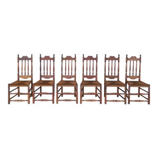 Set of 6 Antique Turned Windsor Rush Bottom Chairs