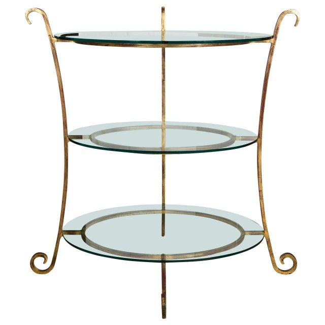 Glass Three-Tier Glass & Gilt Metal Etagere Server or Stand For Sale - Image 7 of 7