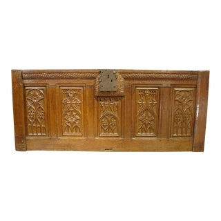 A Period Gothic Trunk Frontage from Picardie France, Oak, Circa 1500 For Sale