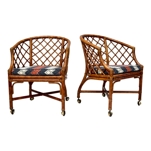 Chinoiserie Chinese Chippendale Rattan Barrel Chairs on Casters For Sale