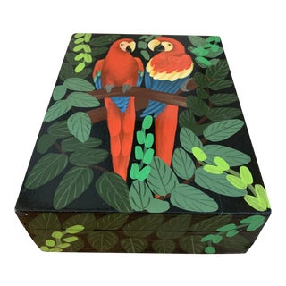 Vintage Lacquered Hand Painted Tropical Parrot Box For Sale