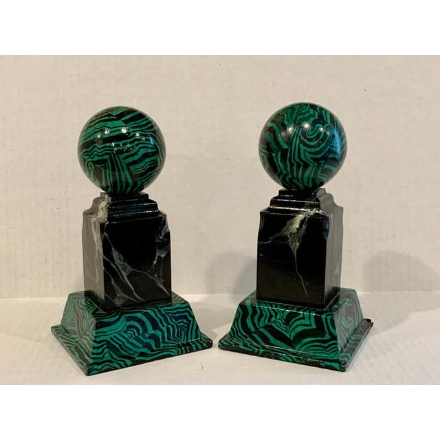 Late 20th Century Bob Christian 1987 Faux Malcihite Orbs - a Pair For Sale - Image 5 of 13