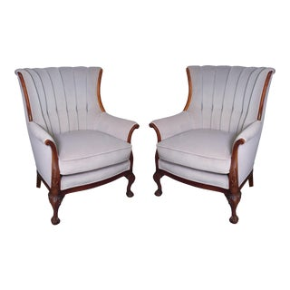 Mid-Century Mahogany Channel Shell Back Lavender-Grey Velvet Chairs, Matching Pair For Sale