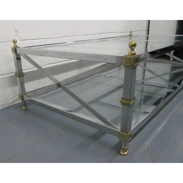 1950s Chrome and Brass Coffee Table For Sale - Image 5 of 6