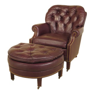 Hancock & Moore Burgundy Leather Club Chair & Ottoman - A Pair