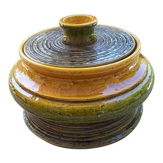 Italian Brown Green and Orange Raymor Lidded Box For Sale