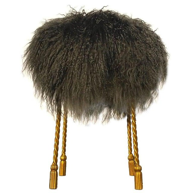 Hollywood Regency Mongolian Lamb & Gilded Metal Vanity Stool, 1970's For Sale - Image 13 of 13