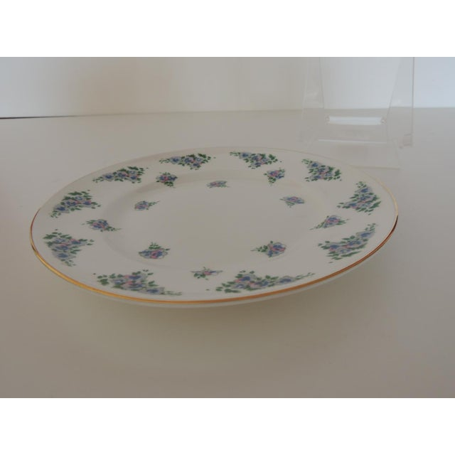 Late 20th Century Royal Victoria English White and Green Bone China Dessert Plate For Sale - Image 5 of 6